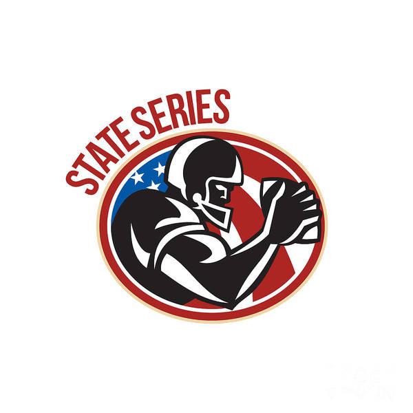American Football Art Print featuring the digital art American Football State Series Ball by Aloysius Patrimonio