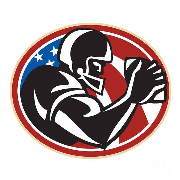 American Football Art Print featuring the digital art American Football Wide Receiver Ball by Aloysius Patrimonio