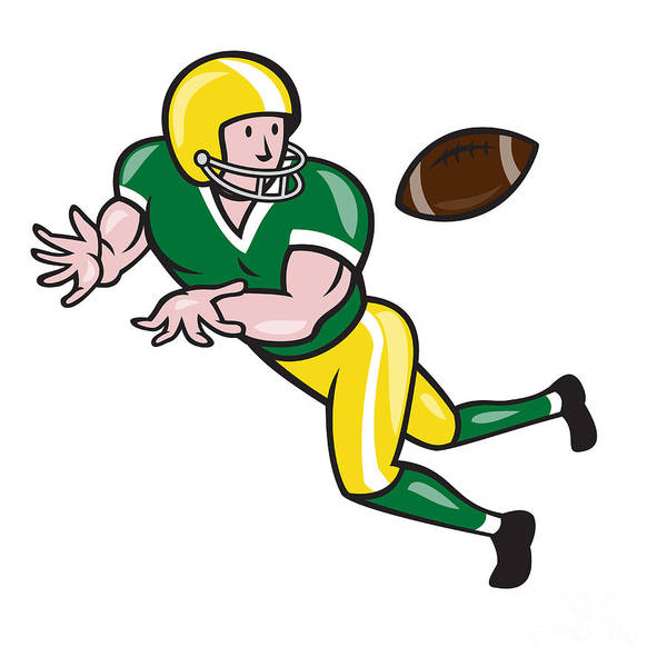 American Football Art Print featuring the digital art American Football Wide Receiver Catch Ball Cartoon by Aloysius Patrimonio