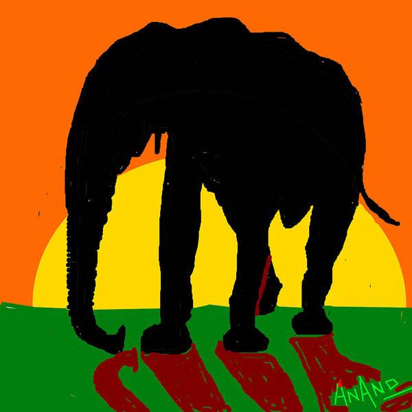 An Elephant And Sun Art Print featuring the digital art An Elephant And Sun by Anand Swaroop Manchiraju