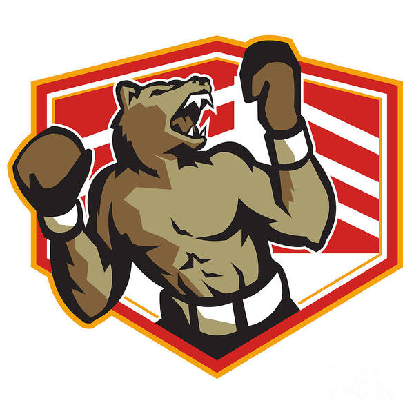 Bear Art Print featuring the digital art Angry Bear Boxer Boxing Retro by Aloysius Patrimonio