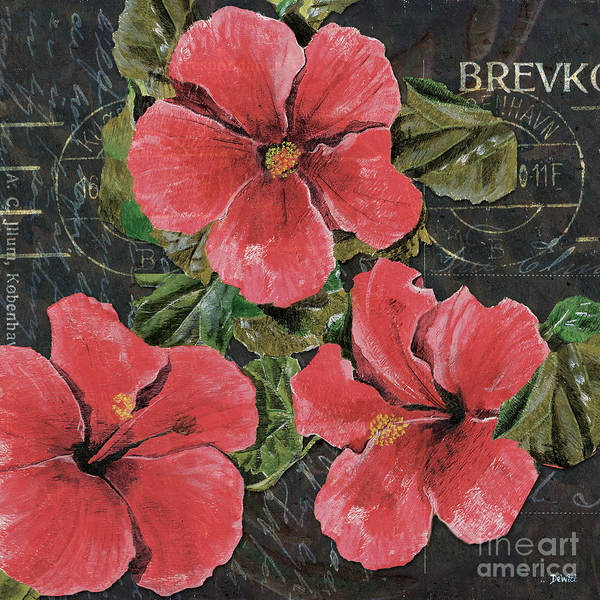 Pink Print featuring the painting Antique Hibiscus Black 3 by Debbie DeWitt