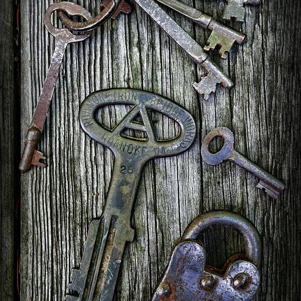 Paul Ward Art Print featuring the photograph Antique Keys And Padlock by Paul Ward