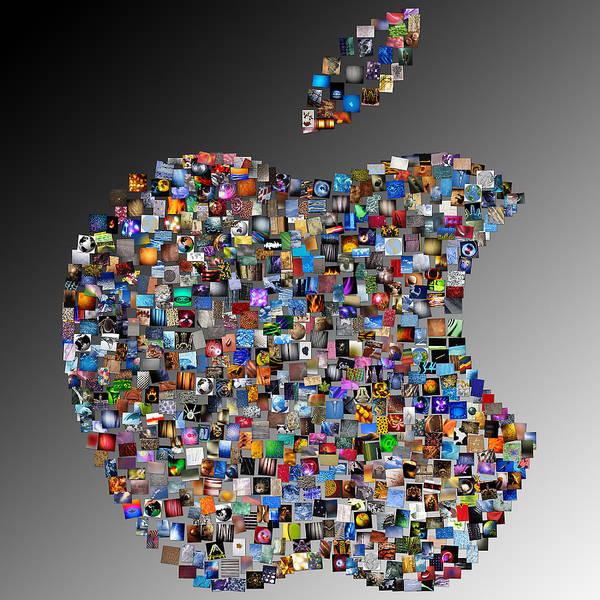 Apple Art Print featuring the digital art Apple Mosaic On Gradient by Yury Malkov