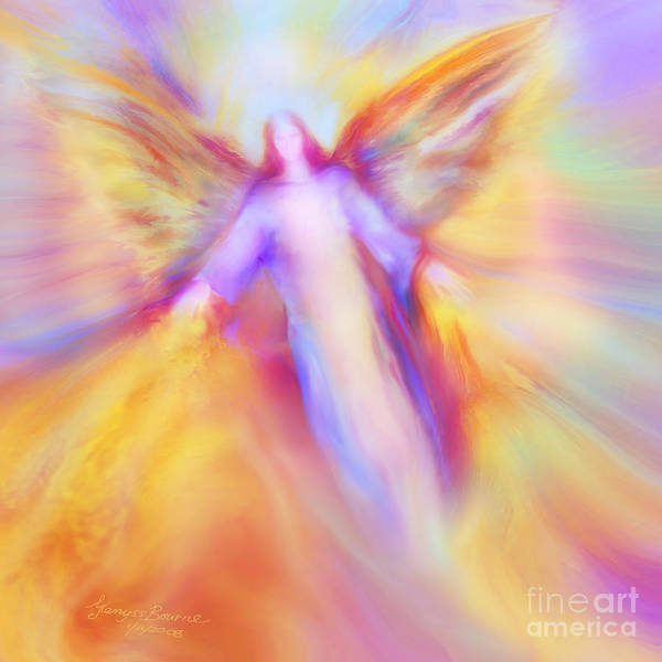 Archangel Uriel Art Print featuring the painting Archangel Uriel In Flight by Glenyss Bourne