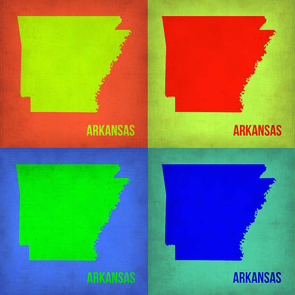 Arkansas Map Art Print featuring the painting Arkansas Pop Art Map 1 by Naxart Studio