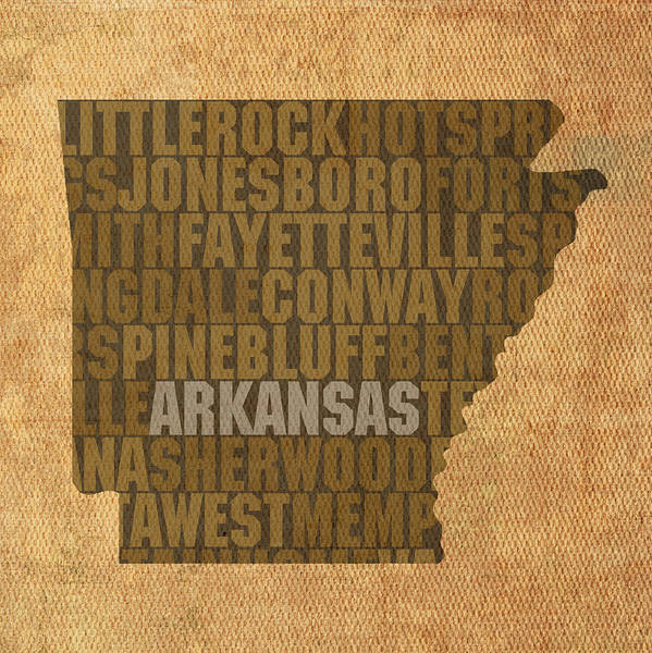 Arkansas Word Art State Map On Canvas Print featuring the mixed media Arkansas Word Art State Map On Canvas by Design Turnpike