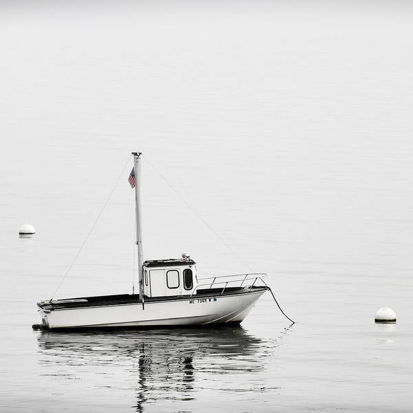 Boat Art Print featuring the photograph At Anchor Bar Harbor Maine Black And White Square by Carol Leigh