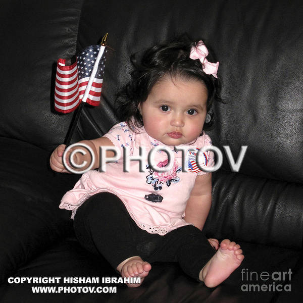 Baby Art Print featuring the photograph Baby Girl With An American Flag And Voting Sticker - Limited Edition by Hisham Ibrahim