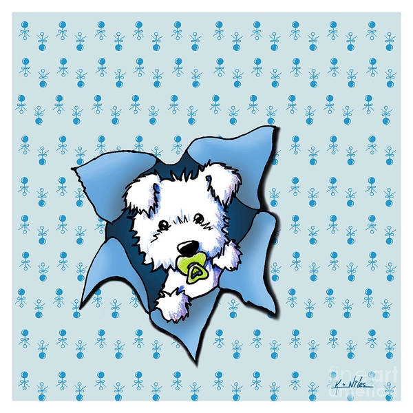 New Baby Art Art Print featuring the digital art Baby Westie Blast by Kim Niles