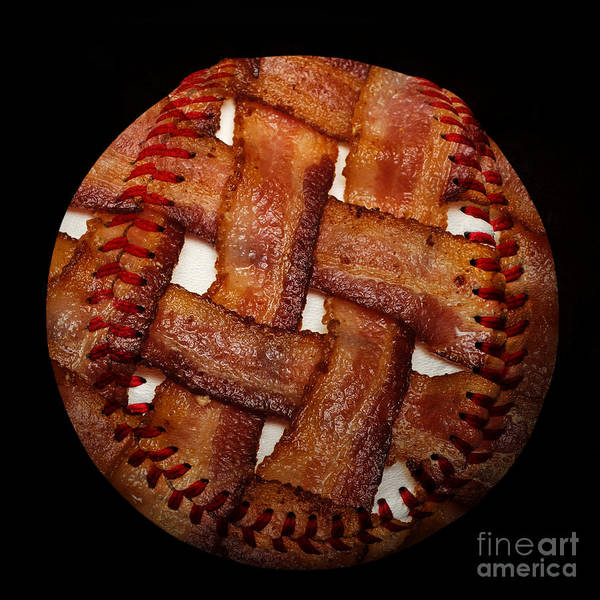 Baseball Art Print featuring the photograph Bacon Weave Baseball Square by Andee Design