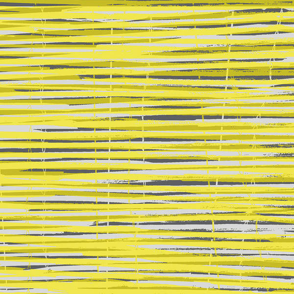 Pattern Art Print featuring the digital art Bamboo Fence - Yellow And Gray by Saya Studios