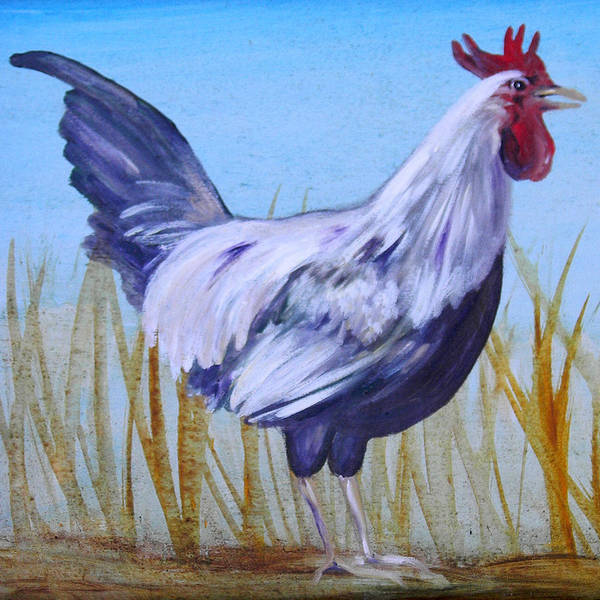Chicken Art Print featuring the painting Bantam Rooster by Judy Bruning