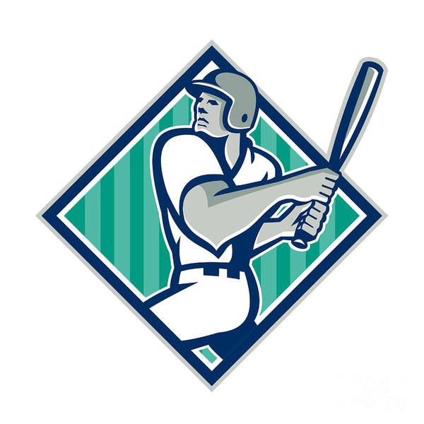 Baseball Art Print featuring the digital art Baseball Hitter Batting Diamond Retro by Aloysius Patrimonio