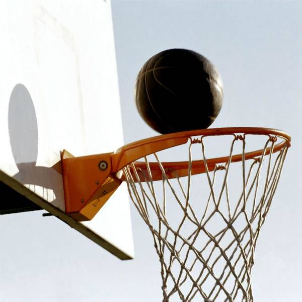 Basketball Hoop And Ball Print featuring the painting Basketball Hoop And Ball by Lanjee Chee