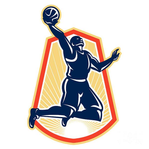 Basketball Art Print featuring the digital art Basketball Player Dunk Rebound Ball Retro by Aloysius Patrimonio