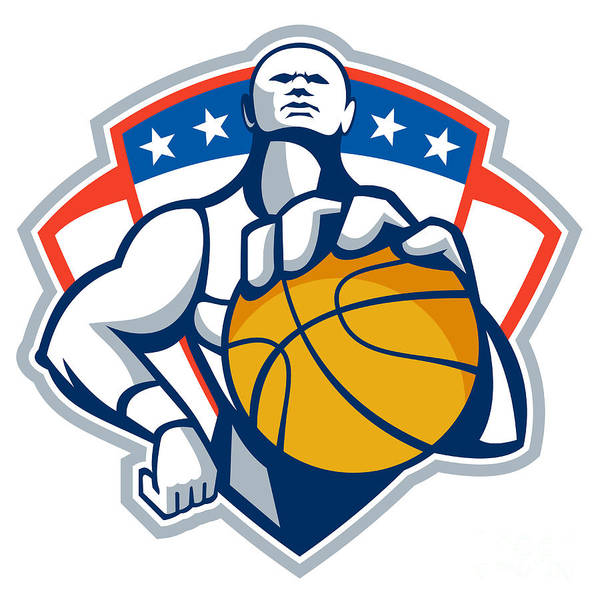 Basketball Print featuring the digital art Basketball Player Holding Ball Crest Retro by Aloysius Patrimonio