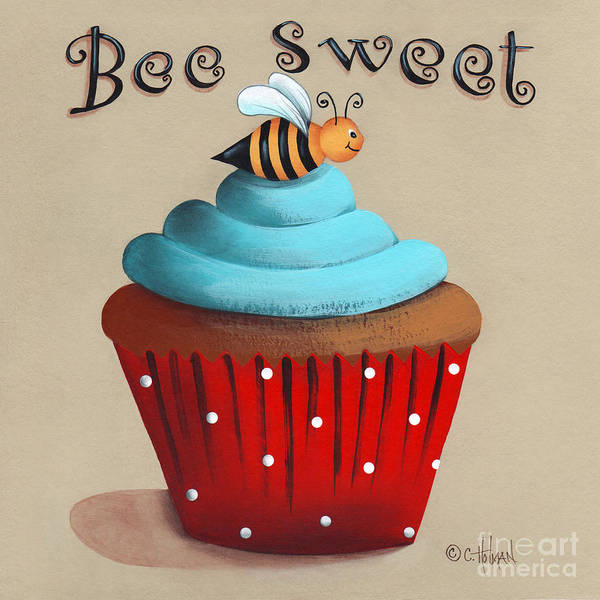 Art Art Print featuring the painting Bee Sweet Cupcake by Catherine Holman