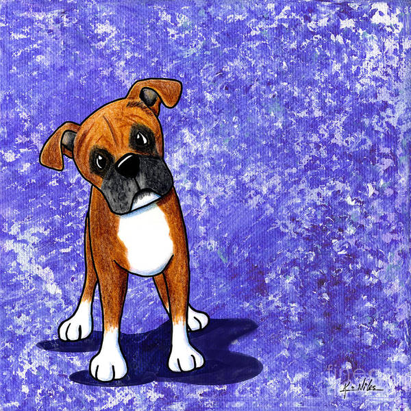 Boxer Art Print featuring the painting Befuddled Boxer by Kim Niles