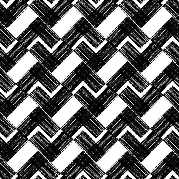 Black And White Painted Stripes  Seamless Geometric Pattern  Bright Colors  And Simple Shapes  Trendy Seamless Pattern Designs  Art Print