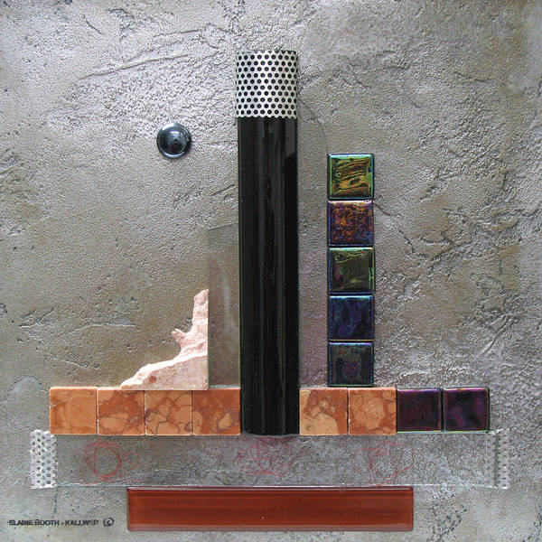 Assemblage Art Print featuring the relief Black Tower by Elaine Booth-Kallweit