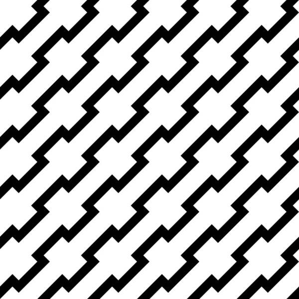 Black Zigzag Lines In Diagonal Arrangement  Abstract Background Geometrical  Seamless Pattern Art Print