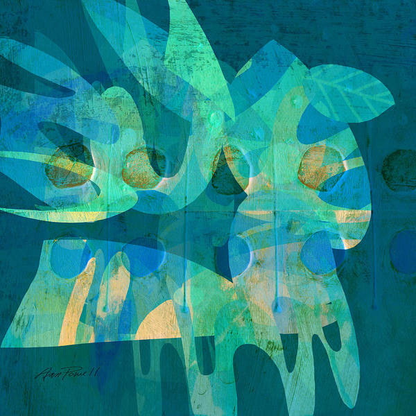Blue Art Print featuring the digital art Blue Square Retro by Ann Powell