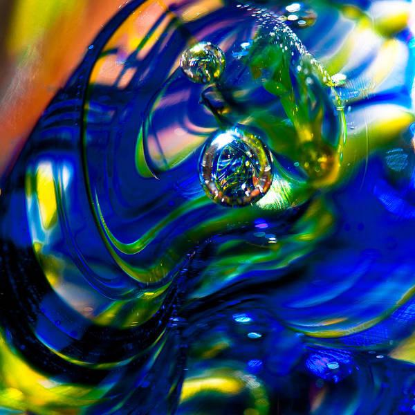Glass Art Print featuring the photograph Blue Swirls by David Patterson