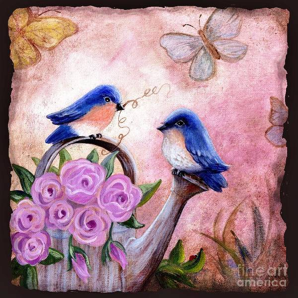 Shabby Chic Art Print featuring the painting Bluebirds And Butterflies by Marilyn Smith