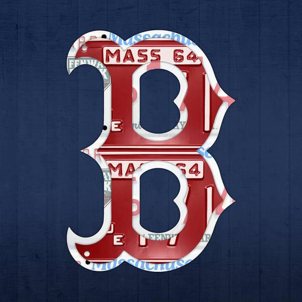 Boston Art Print featuring the mixed media Boston Red Sox Logo Letter B  Baseball Team Vintage c0474467aa69