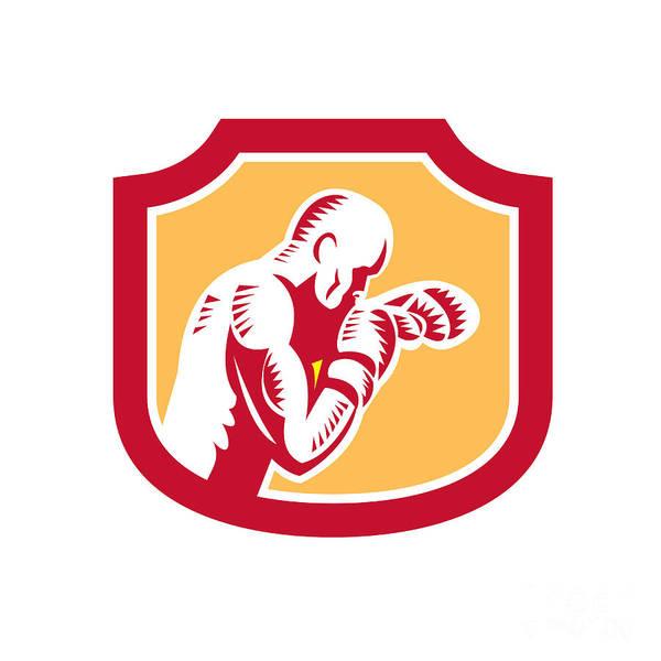 Boxer Art Print featuring the digital art Boxer Boxing Jabbing Punch Side Shield Retro by Aloysius Patrimonio