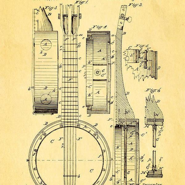 Famous Art Print featuring the photograph Bradbury Banjo Patent Art 1882 by Ian Monk