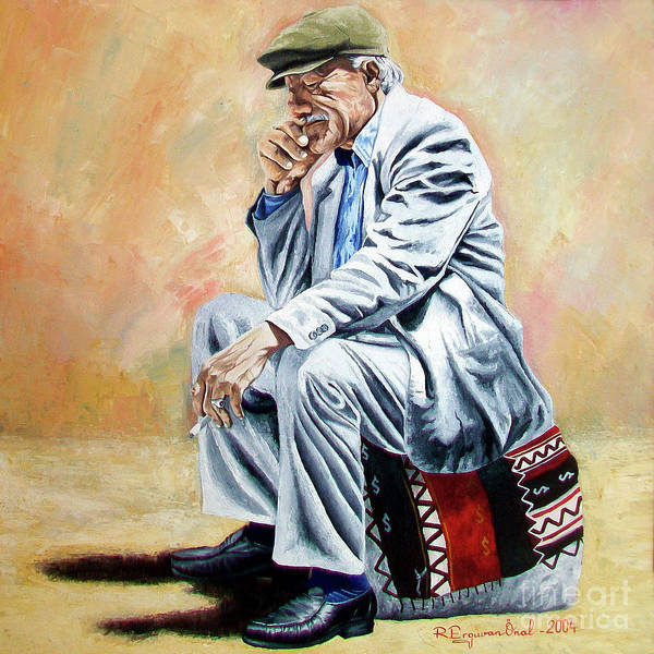 Figurative Art Print featuring the painting Break For Smoking - Apeadero Para Fumar by Rezzan Erguvan-Onal