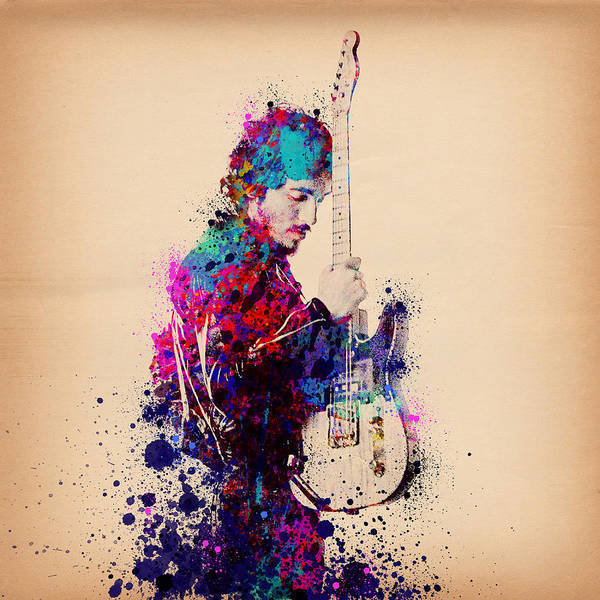 Music Art Print featuring the painting Bruce Springsteen Splats And Guitar by Bekim M