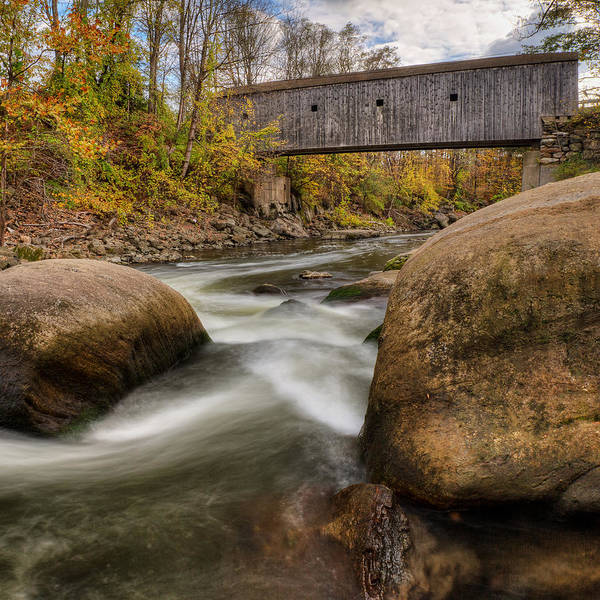 Bulls Bridge Art Print featuring the photograph Bulls Bridge Autumn Square by Bill Wakeley