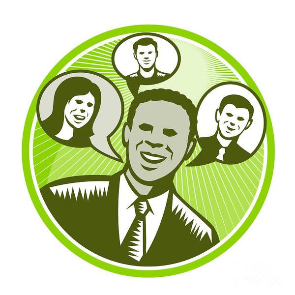 African-american Art Print featuring the digital art Businessman People Smiling Speech Bubble by Aloysius Patrimonio