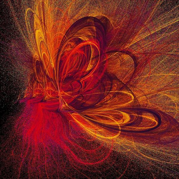 Abstract Butterfly Prints Art Print featuring the digital art Butterfire by Sharon Lisa Clarke
