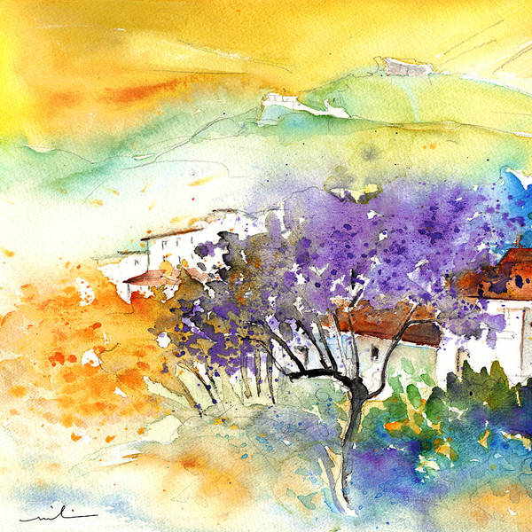 Watercolour Art Print featuring the painting By Teruel Spain 01 by Miki De Goodaboom