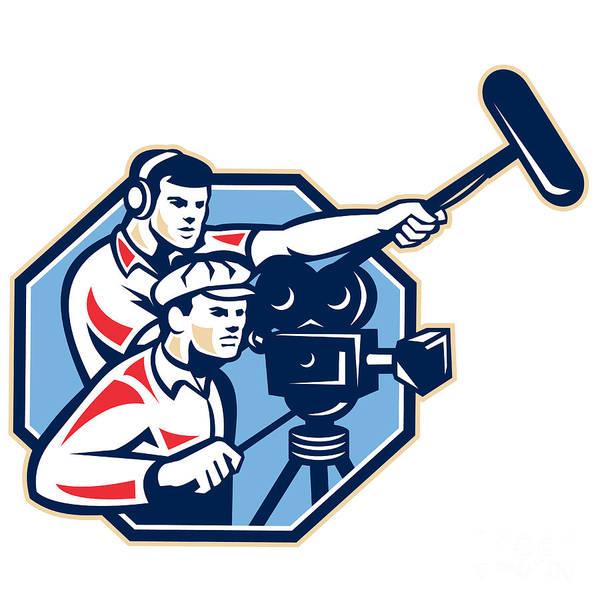 Cameraman Art Print featuring the digital art Cameraman Vintage Camera Soundman Boom Retro by Aloysius Patrimonio