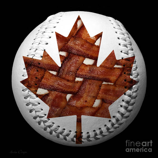Baseball Art Print featuring the photograph Canadian Bacon Lovers Baseball Square by Andee Design