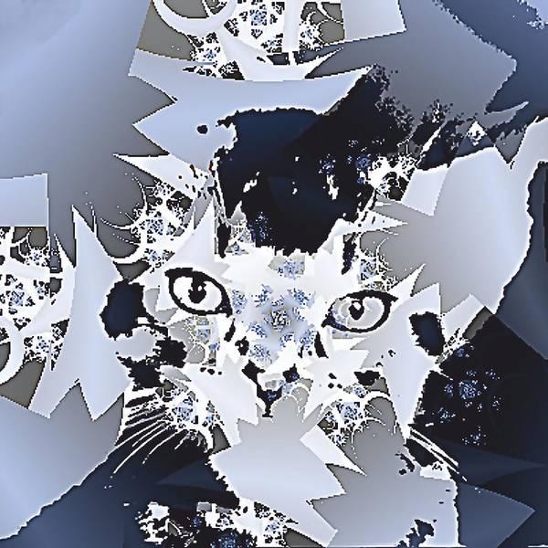 Cat Eyes Fractal Figures Art Print featuring the digital art Cat In Fractaldesign by Angelica G-N Zizela