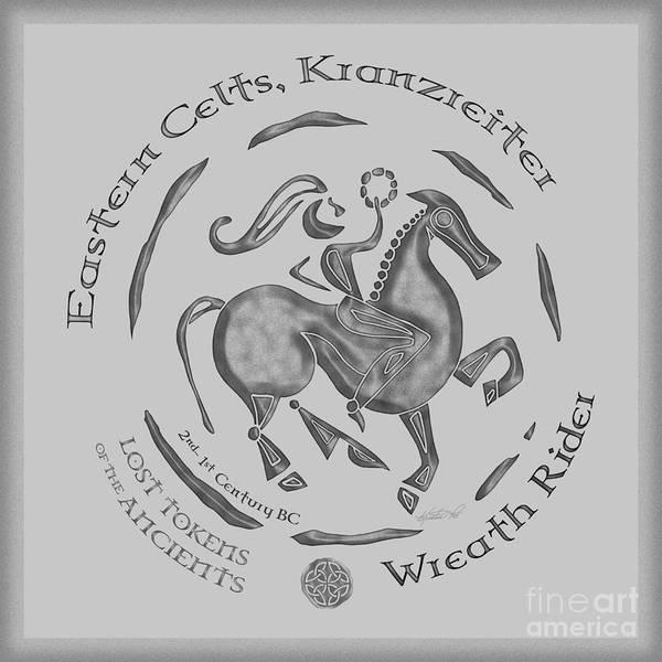 Artoffoxvox Art Print featuring the mixed media Celtic Wreath Rider Coin by Kristen Fox