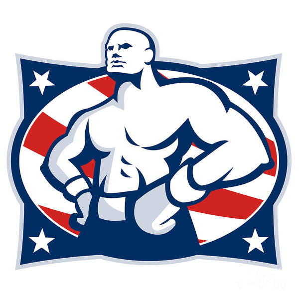 Boxer Art Print featuring the digital art Champion American Boxer Akimbo Retro by Aloysius Patrimonio