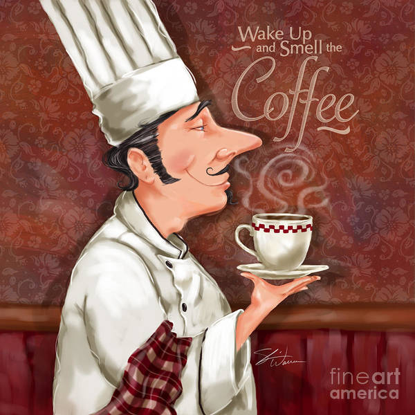 Waiter Art Print featuring the mixed media Chef Smell The Coffee by Shari Warren