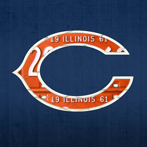 Chicago Bears Football Team Retro Logo Illinois License Plate Art