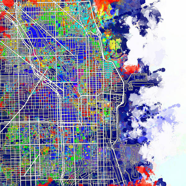 Chicago Art Print featuring the painting Chicago Map Color Splash by Bekim M