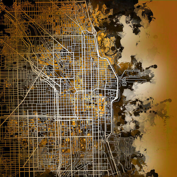 Chicago Art Print featuring the painting Chicago Map Orange Version by Bekim M
