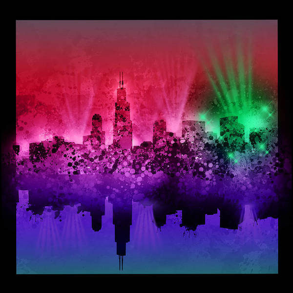 Chicago Skyline Art Print featuring the painting Chicago Skyline Abstract 4 by Bekim M
