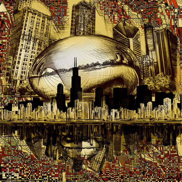 Chicago Skyline Art Print featuring the digital art Chicago Skyline Drawing Collage 3 by Bekim M
