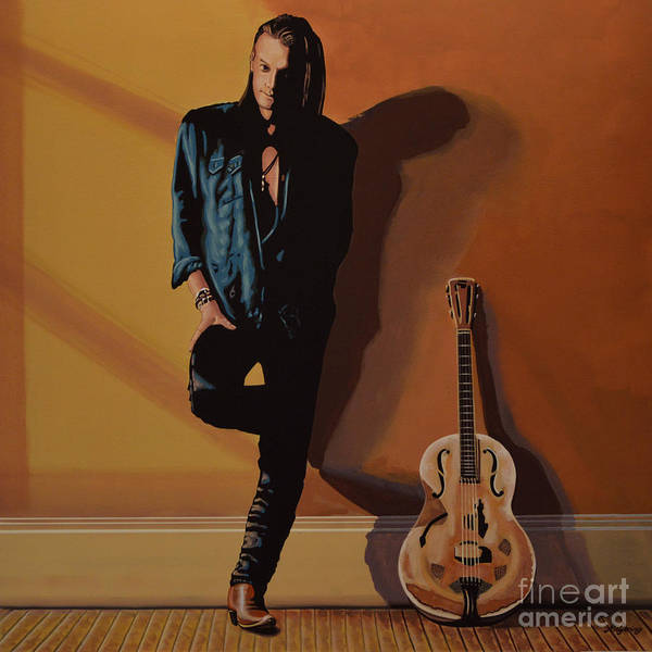 Chris Whitley Art Print featuring the painting Chris Whitley by Paul Meijering
